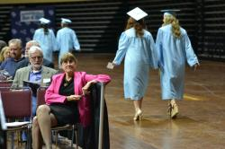 Toni Case and Steve Austin watching the Class of 2015 file in to strains of Pomp & Circumstance.